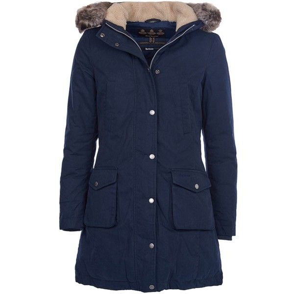 Women's Barbour Waterproof Wrest Coat - Navy (5,705 MXN) ❤ liked on Polyvore featuring outerwear, coats, navy coat, parka coat, blue coat, waterproof coat and faux fur trim coats