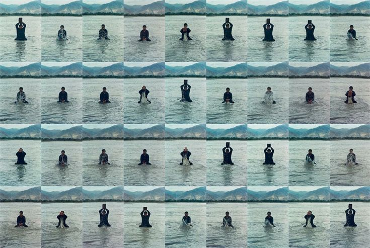 SONG DONG. Printing on Water (Performance in the Lhasa River, Tibet), 1996.