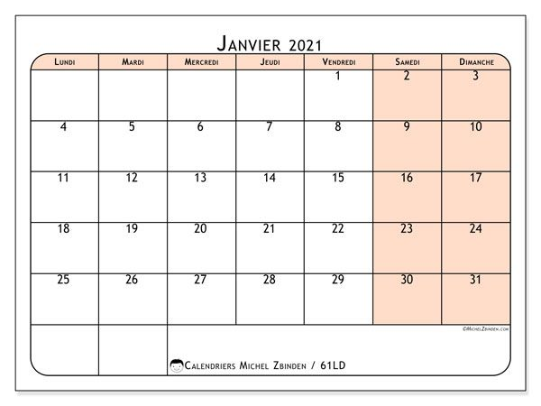 "Calendrier ""61LD"" janvier 2021 à imprimer   Michel Zbinden FR"
