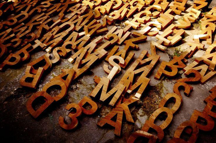 Wood letters Helvetica