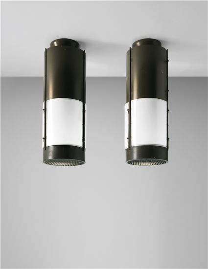 Gianluigi Banfi, Lodovico Belgioloso, Enrico Peressutti or Ernesto Nathan Rogers; Painted Sheet Steel, Painted Aluminium, Painted Brass amd Acrylic Ceiling Lights from Cinema Mediolanum, Milan, c1970.
