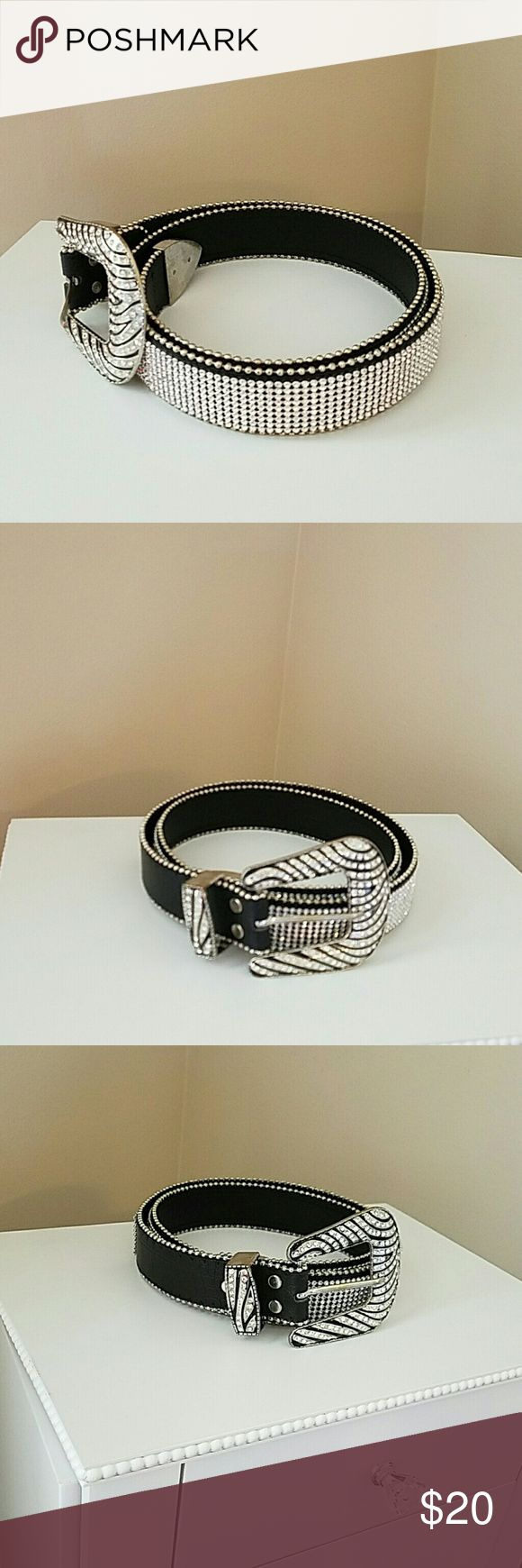 "Silver /Black rhinestone  belt gorgeous NWOB  Xl Gorgeous eye catching  black/silver rhinestones belt NWOT  size Xl belt measures 44"" length without buckle Accessories Belts"