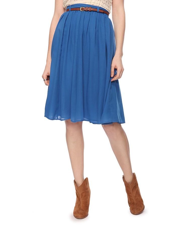 flowy calf length skirt w/ belt
