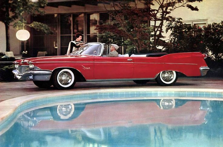 "frenchcurious: ""Imperial Crown Convertible 1960 - source Palm Springs Automobilist "" Another 'let's park a 2 ½ ton car on the side of a swimming pool' ad . Beautiful car and all about attainable..."