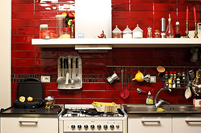 Red tiled kitchen...