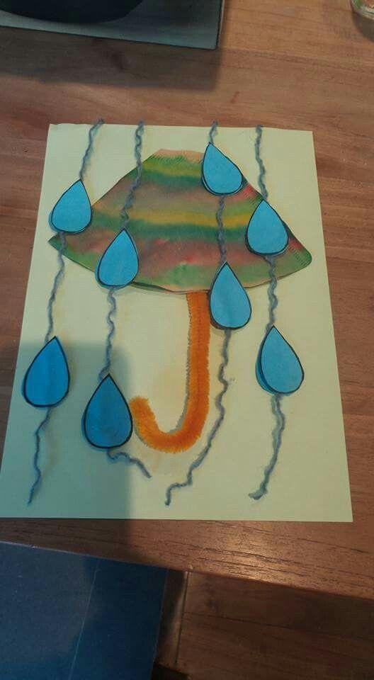 Herfst paraplu koffiefilter versieren en nat maken. Druppels erbij en klaar