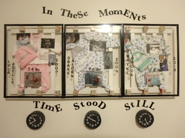 Finished this last night. The backing is a piece of their crib all 3 used, baby blocks around to make a shadow box with the frame, going home outfits, first hospital bracelet and hat, pregnancy photo, ultrasound, first time holding them and newborn photo with weight at birth, year and time. Love how they turned out.