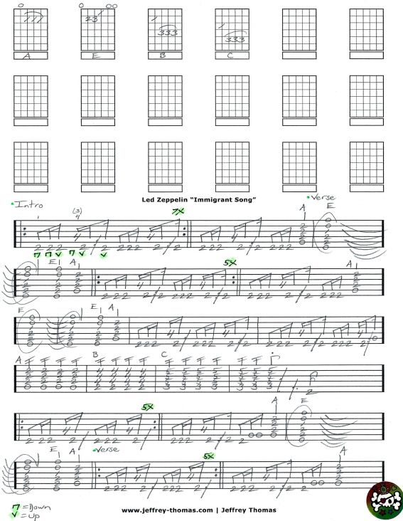 Led Zeppelin Immigrant Song Free Guitar Tab By Jeffrey Thomas