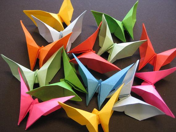 Set of 200 3D Origami butterflies in mix solid by OrigamiByWingy, $50.00