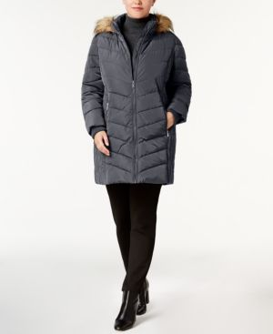 Tommy Hilfiger Plus Size Faux-Fur-Trim Chevron-Quilted Puffer Coat - Gray 3X