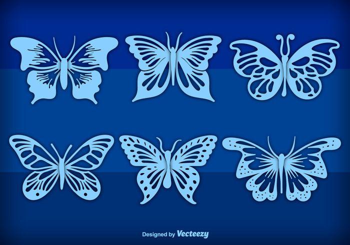 Free vector Blue hand drawn butterflies #20825