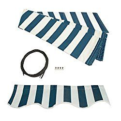 ALEKO Awning Fabric Replacement 10×8 Feet for Retractable Awning, BLUE/WHITE STRAP