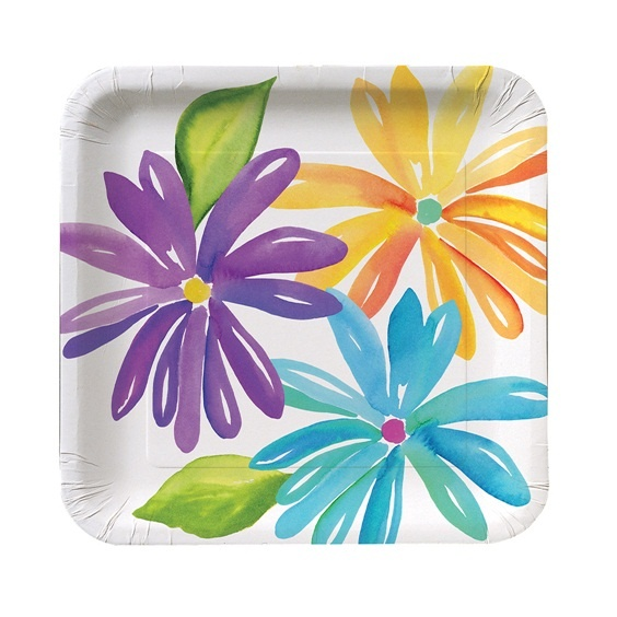 Add a rainbow of color to your special occasion when you host a party with the Market Street Dessert Plates.  The modern day square shaped 7 inch paper plates boast a colorful array of spring flowers in sunny yellow, grape and cornflower blue shades with fresh lime colored leaves to accent the cheerful watercolor style design.  The dessert plate is perfect for serving party appetizers and delicious desserts and looks great when paired with the coordinating Market Street cups and #partypail
