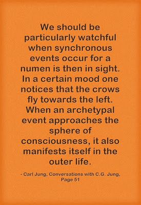 We should be particularly watchful when synchronous events occur for a numen is then in sight. In a certain mood one notices that the crows ...