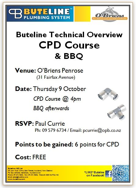 Buteline Technical Overview CPD Course & BBQ @ O'Briens Penrose on Thu 9 Oct 2014