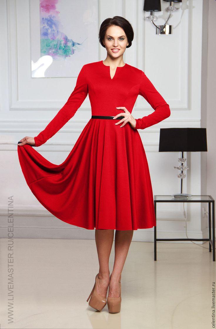 Красное платье, короткое платье, нарядное платье с рукавом, теплое - платье на каждый день