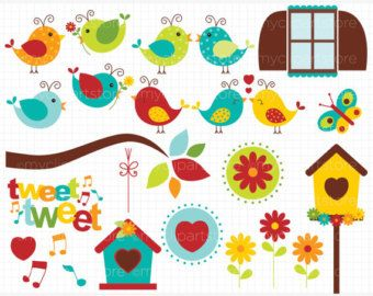 Little Love Birds Clip Art / Digital Clipart - Instant Download