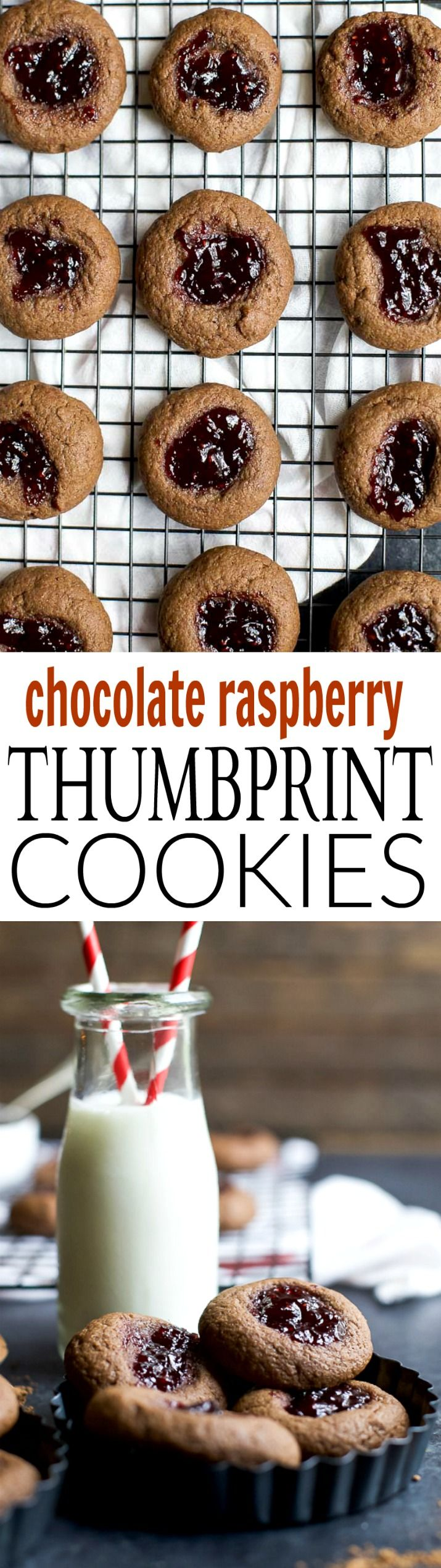 Thumbprint Cookies are a classic Christmas Cookie around the holidays. These RASPBERRY CHOCOLATE THUMBPRINT COOKIES have a subtle chocolate flavor with a burst of raspberry that you'll fall in love with! | joyfulhealthyeats.com