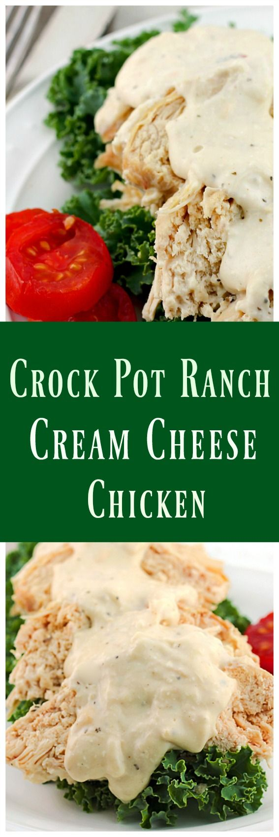 Crock Pot Ranch Cream Cheese Chicken - It's creamy consistency and light Ranch flavor along with the fork tender chicken breasts is irresistible.   via @https://www.pinterest.com/BunnysWarmOven/bunnys-warm-oven/