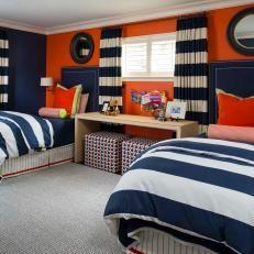 Blue and Orange Contemporary Boy's Room