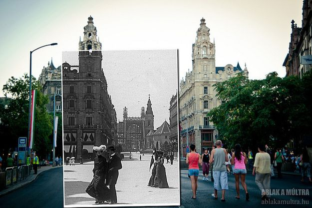 So cool!  I think I love the difference in dress the most.  Photo of Budapest, Klotild Palace, 1900 and 2012.  Pinned from BuzzFeed.  Photo by Hungarian photographer Kerenyi Zoltan.