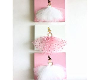 Nursery Art Kid's Room Ballerina Art Pink Art by ShenasiConcept