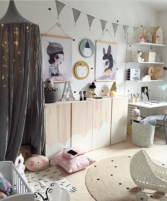 Secret tent corner with fairy lights for girls bedroom
