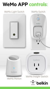 WeMo Switches and Motion Sensors - The Belkin WeMo Switch and the free WeMo app work together to let you turn electronics on or off from your iPhone, iPad, or iPod touch wherever you are. No matter if it's a lamp, a fan, a heater, curling iron, stereo, you can activate it or put it on a schedule. WeMo uses your home Wi-Fi network, and also operates over mobile Internet—so you can control things even when you're traveling.