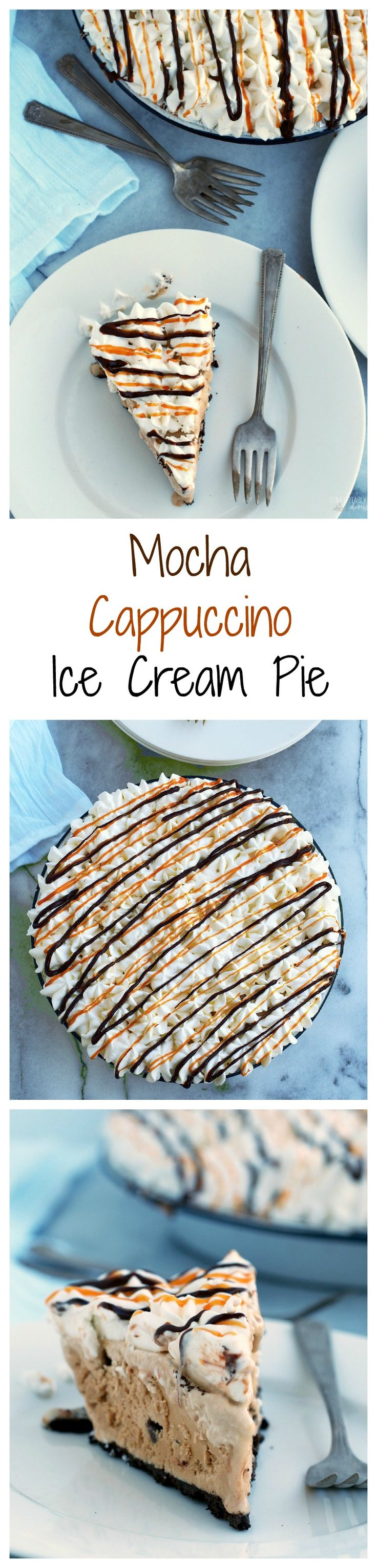 No-Bake-Mocha-Cappuccino-Ice-Cream-Pie is coffee ice cream, chocolate chips, whipped cream, drizzles of caramel and hot fudge, nestled in an Oreo cookie crust. via @comfortdomestic | www.ComfortablyDomestic.com