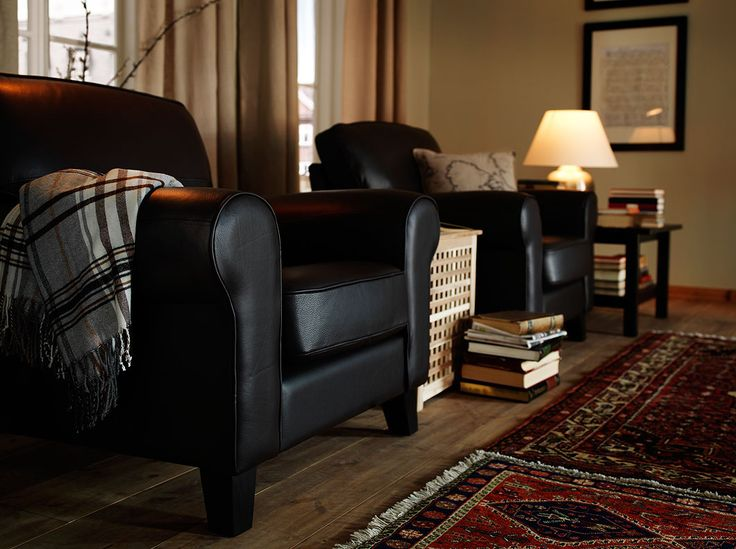 YSTAD armchairs with Grann dark brown leather and HOL side table in solid acacia