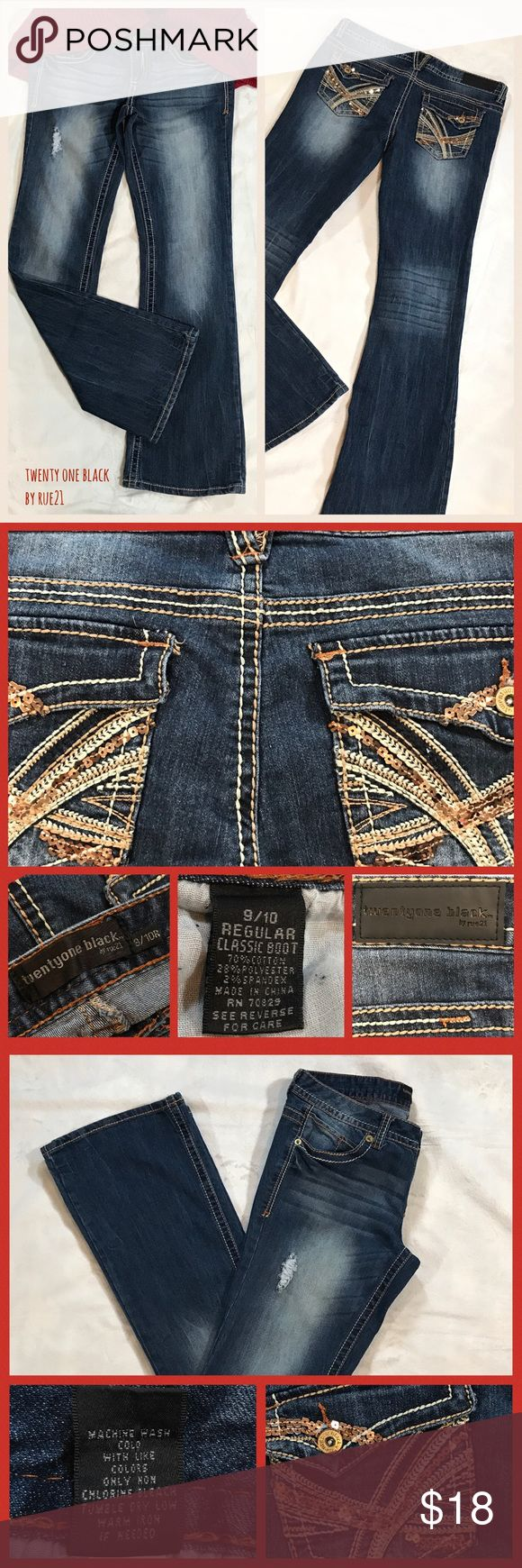 🌸Size 9/10 Twenty One Black Bootcut Jeans-rue21 •Twenty One Black by rue21 •Worn once •Size: 9/10 Regular •Classic boot *one stitch looks like it is coming up* indicated on pic •Please ask questions prior to purchasing •THANK YOU •HAPPY POSHING🌼 •Deb 🌺 Rue 21 Jeans Boot Cut