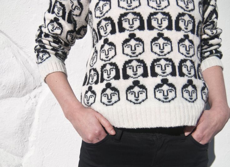 Leah Goren/Knit sweater with all over girls pattern.