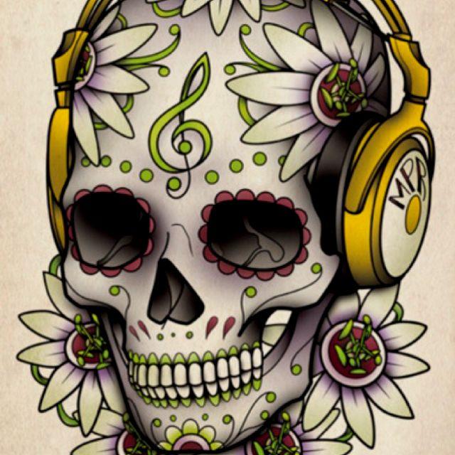 Skull and headphones