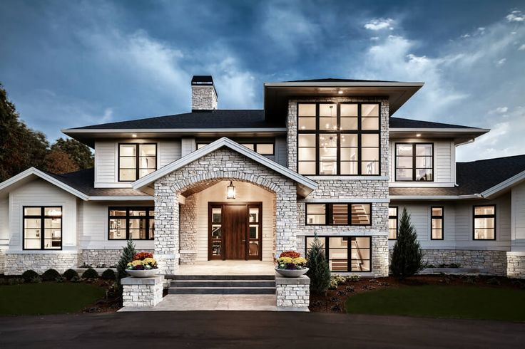 Traditional Meets Contemporary in Sophisticated Michigan Home (Freshome) --- front door & porch