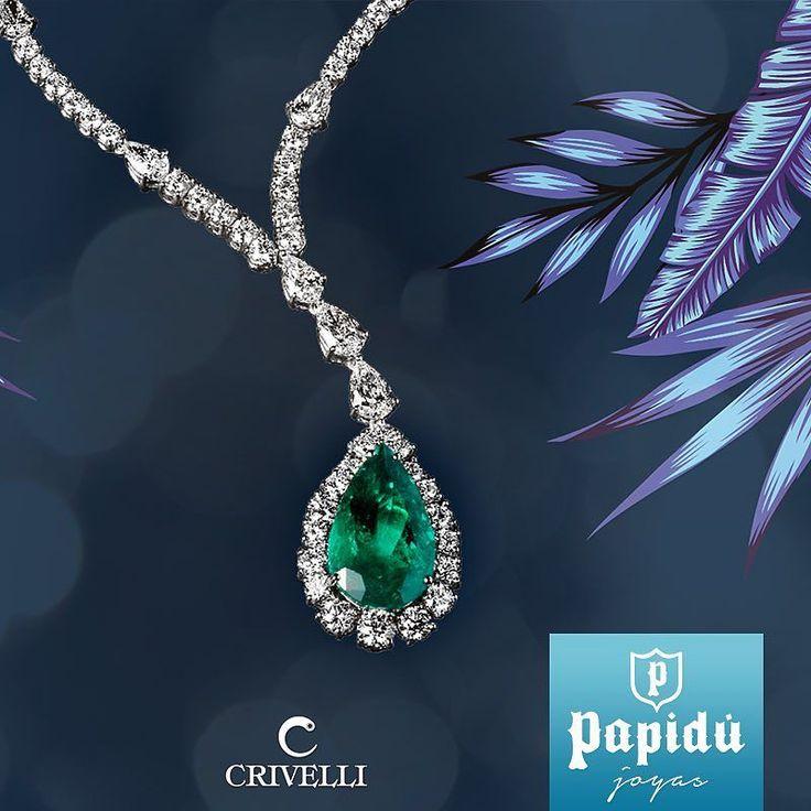 Sorprende a mamá con este collar de oro blanco diamantes y colgante de color esmeralda de #Crivelli. #JoyeriaPapidu #ExclusivoPapidu #Inspiration #FineJewelry #Trendy #PapiduJoyas #Diamonds #