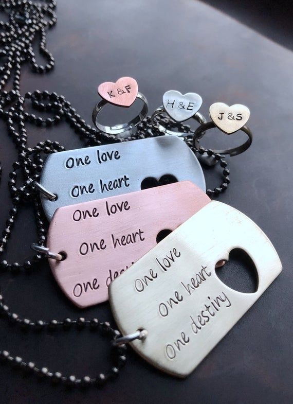 Personalized Couples gift set, Couples gift Christmas, Boyfriend necklace, Couples matching, heart r