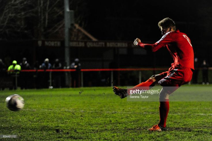 Gary Ormston of North Shields (8) strikes his penalty which sees North Shields win the Northumberland Senior Cup Semi Final between North Shields and Newcastle United at Daren Perrson Stadium on February 9, 2017 in North Shields, England.