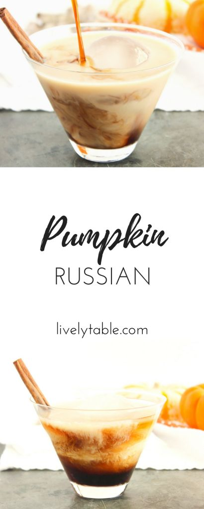 The Pumpkin Spice Latte gets an adult upgrade with this fall twist on a White Russian: a delicious Pumpkin Russian cocktail! via livelytable.com