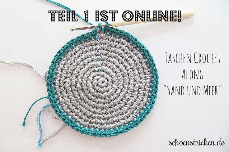 """Hier kommt der Teil 1 von unserem Taschen Crochetalong mit dem Farbthema """"Sand und Meer"""". Die Farben, die wir für unsere Tasche ausgesucht sind Blautöne"""