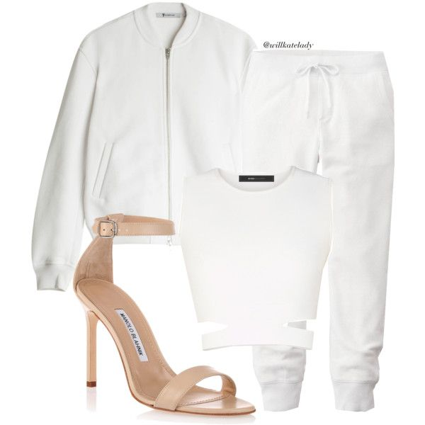 Sunday Style | white by willkatelady on Polyvore featuring polyvore, fashion, style, BCBGMAXAZRIA, T By Alexander Wang, Uniqlo, Manolo Blahnik, casualoutfit, CasualChic, sunday and casualluxe