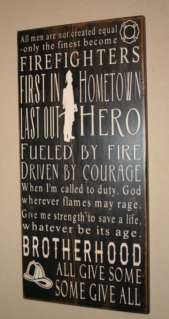 Not that we need any more firefighter stuff or subway sign but i like this! Firefighter Subway Art Sign by DeenasDesign on Etsy, $60.00