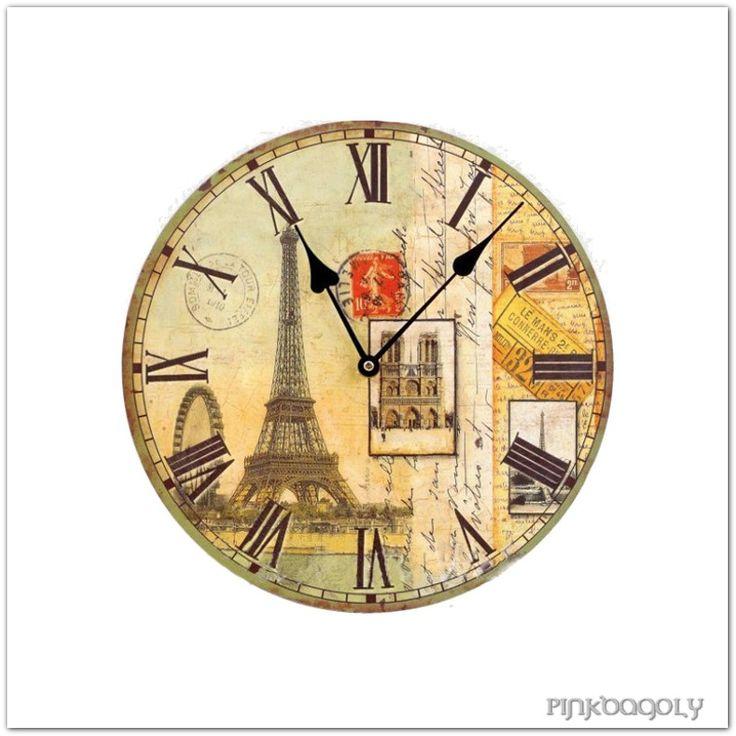 Wood wall clock with antique Paris pattern.  Párizsos fa falióra.