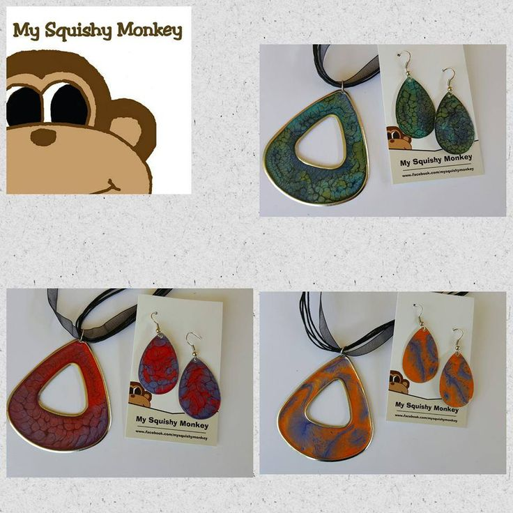Handmade by My Squishy Monkey  Choice of one handpainted necklace and earring set For more information, please visit https://www.facebook.com/HandmadeMarkets