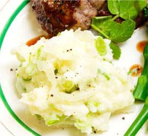 Parmesan and spring onion mash.