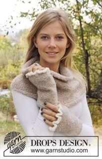 "DROPS basic neck and wrist warmers with crochet flounce in ""Alpaca Bouclé"" ~ DROPS Design"