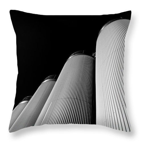 Reflection Throw Pillow featuring the photograph Five Silos In Black And White by Jan Brons. Five silos in Black and White.     Image shot in Black and White.     These five circular silos are used at a dairy factory for storage use of bulk half-products.