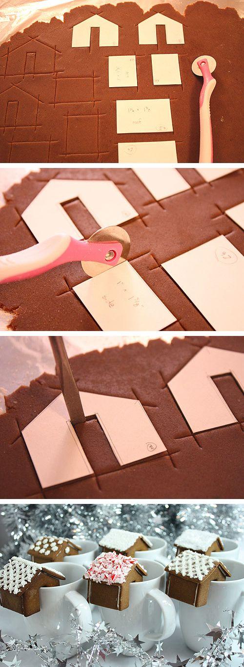 DIY casetta di pan di zenzero appollaiata sul bordo della vostra tazza