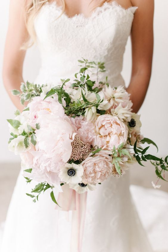 16 Stunning Summer Wedding Flowers—blush peonies wedding bouquet with greenery…