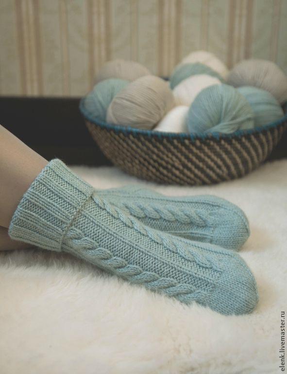 Купить Носки вязаные Village (бирюзовые) - бирюзовый, однотонный, носки, носки вязаные, носки женские