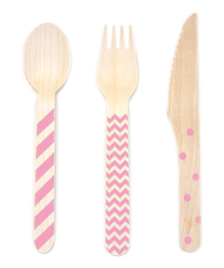 Loving this Pink Stamped Wooden Cutlery - Set of 36 by Dress My Cupcake on #zulily! #zulilyfinds | Use these funky sets as a vibrant accessory for special events, especially when eating ice cream, cake or ice-cream cake!    •Includes 12 spoons, 12 forks and 12 knives •Wood